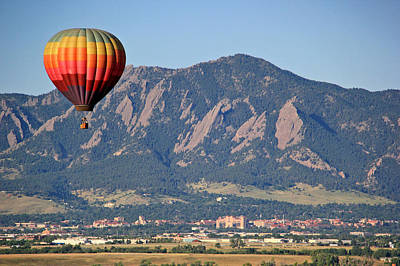 Balloon Over Flatirons And Cu Poster