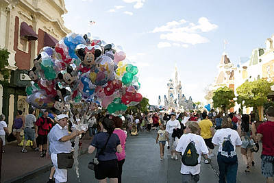 Balloon Vendor At Magic Kingdom Poster by Christopher Purcell