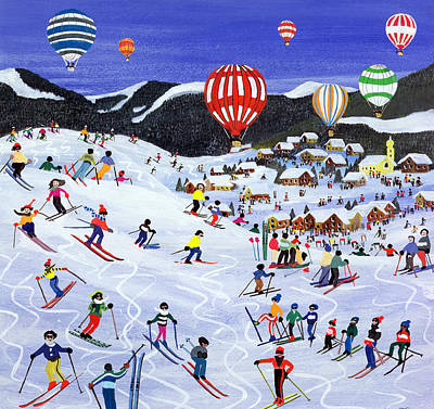 Ballooning Over The Piste Poster by Judy Joel