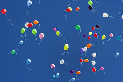 Balloons In The Blue Sky Poster