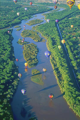 Balloons Over The Rio Grande Poster by Alan Toepfer