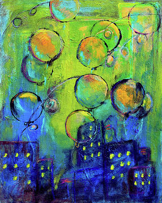 Cheerful Balloons Over City Poster