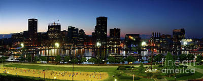 Baltimore Beach And Inner Harbor At Sunset Poster