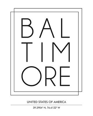 Baltimore City Print With Coordinates Poster