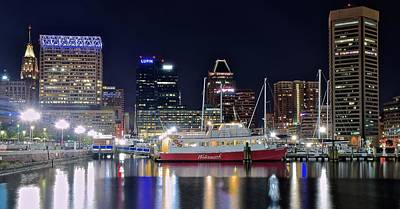 Baltimore Harbor At Night Poster by Frozen in Time Fine Art Photography