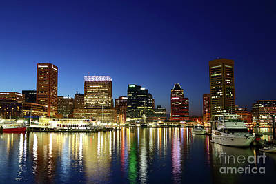 Baltimore Inner Harbor Reflections At Twilight Poster