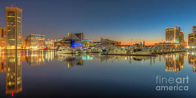 Baltimore Inner Harbor Skyline At Dawn Panoramic IIi Poster by Clarence Holmes
