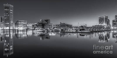 Baltimore Inner Harbor Skyline At Dawn Panoramic Iv Poster by Clarence Holmes