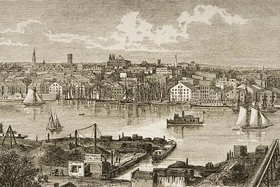 Baltimore Maryland In 1870s. From Poster by Vintage Design Pics