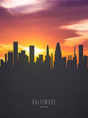 Baltimore Maryland Sunset Skyline 01 Poster