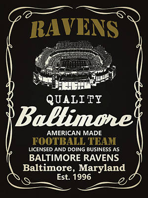 Baltimore Ravens Whiskey Poster by Joe Hamilton