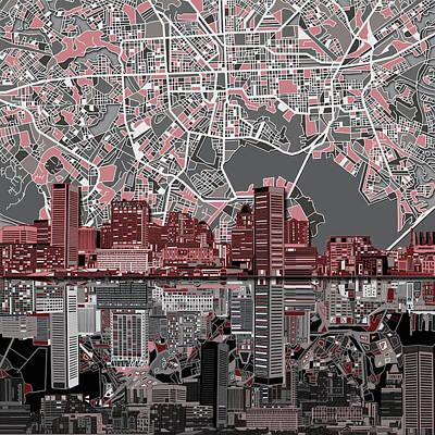Baltimore Skyline Abstract Poster