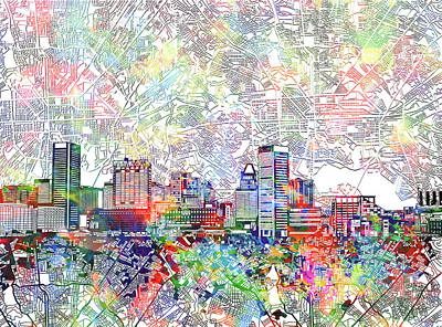 Poster featuring the painting Baltimore Skyline Watercolor 11 by Bekim Art