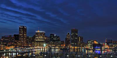 Baltimore's Inner Harbor At Night Poster