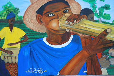 Poster featuring the painting Bamboo Blower In Haiti Rara Festival by Nicole Jean-Louis