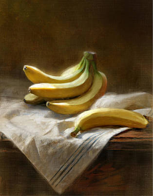 Bananas On White Poster by Robert Papp