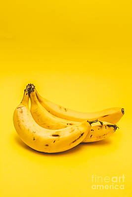 Bananas On Yellow Background Poster by Jorgo Photography - Wall Art Gallery