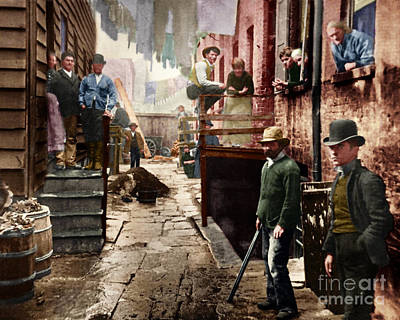 Bandit's Roost By Jacob Riis Colorized 20170701 Poster