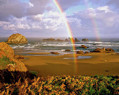 Bandon Beach Rainbow Sunrise Poster