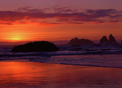 Bandon Beach Sunset Poster by Jim Nelson