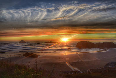 Poster featuring the photograph Bandon Sunset by Bonnie Bruno