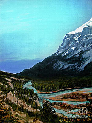 Poster featuring the painting Banff Alberta Rocky Mountain View by Patricia L Davidson