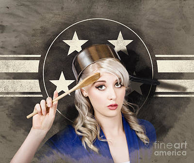 Bangers And Mash Girl. Army Pin Up Housewife Poster