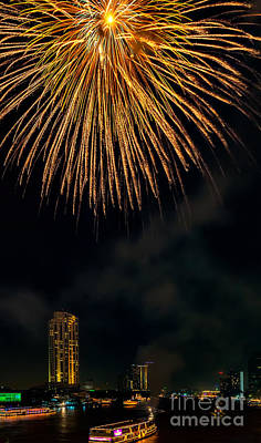 Bangkok Fireworks Poster by Adrian Evans