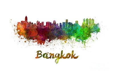 Bangkok Skyline In Watercolor Poster