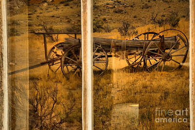Bannack Wagon Reflections Poster