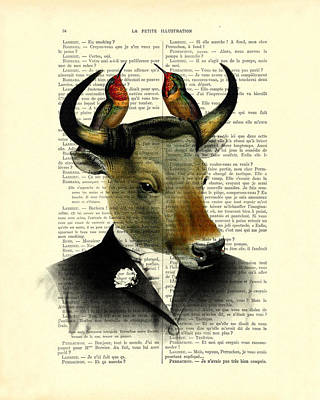 Banteng With Hummingbirds Poster by Madame Memento