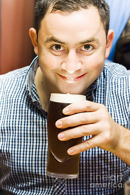 Bappy European English Man Drinking Pint Of Beer Poster