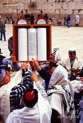 Bar Mitzvah At The Western Wall  Jerusalem Poster by Thomas R Fletcher