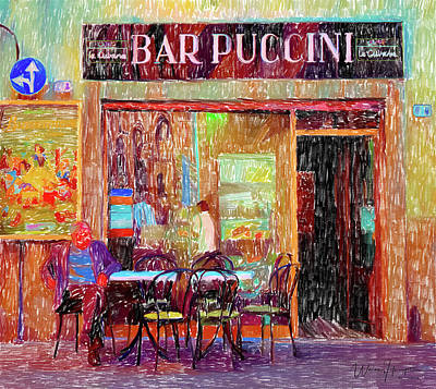 Bar Puccini Lucca Italy Poster by Wally Hampton