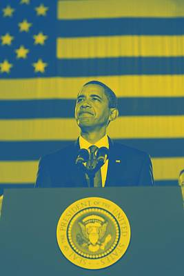 Barack Obama With American Flag 2 Poster