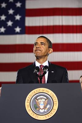 Barack Obama With American Flag Poster by Celestial Images