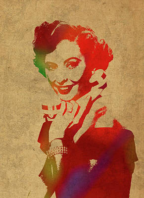 Barbara Stanwyck Watercolor Portrait Poster by Design Turnpike