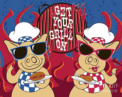 Barbecue Pigs Poster