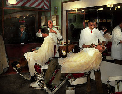 Poster featuring the photograph Barber - A Time Honored Tradition 1941 by Mike Savad
