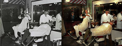 Poster featuring the photograph Barber - A Time Honored Tradition 1941 - Side By Side by Mike Savad