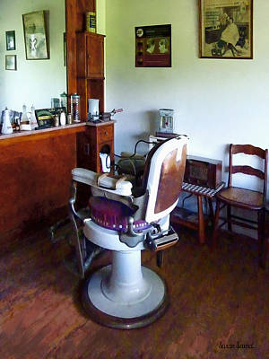 Barber - Old-fashioned Barber Chair Poster by Susan Savad