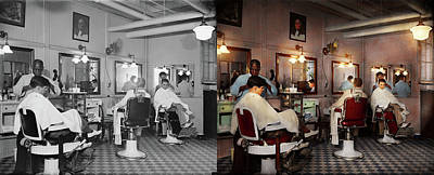 Poster featuring the photograph Barber - Senators-only Barbershop 1937 - Side By Side by Mike Savad