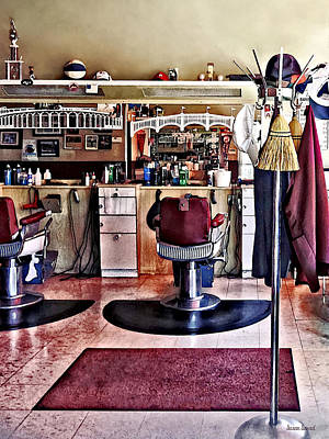 Barbershop With Coat Rack Poster by Susan Savad