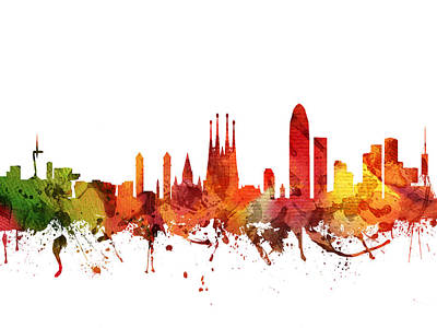 Barcelona Cityscape 04 Poster by Aged Pixel