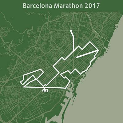 Barcelona Marathon Olive Poster
