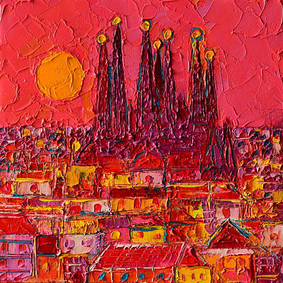 Barcelona Moon Over Sagrada Familia - Palette Knife Oil Painting By Ana Maria Edulescu Poster