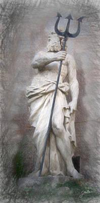 Barcelona - Neptune Statue Poster by Joaquin Abella