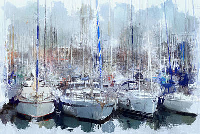 Barcelona Port Boats Poster by Yury Malkov