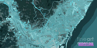 Barcelona Traffic Abstract Blue Map Poster