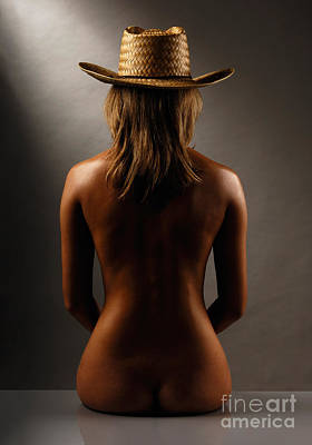 Bare Back Of A Woman In A Straw Hat Poster by Oleksiy Maksymenko